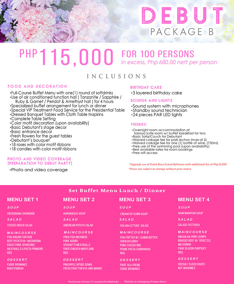 debut package cebu B