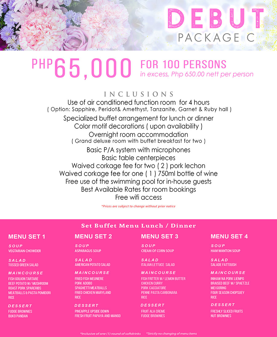 debut package cebu C
